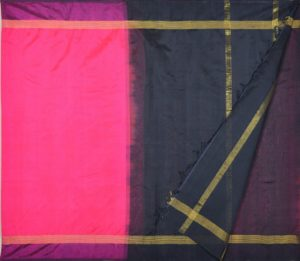 Kanchi Silkcotton Saree Rani Pink black border
