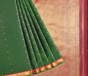 68119006-Kanjivaram Pure Silk Saree in Bottle Green