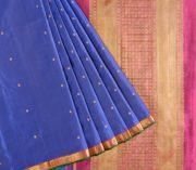 68119007 - Kanjivaram pure silk saree in deep blue