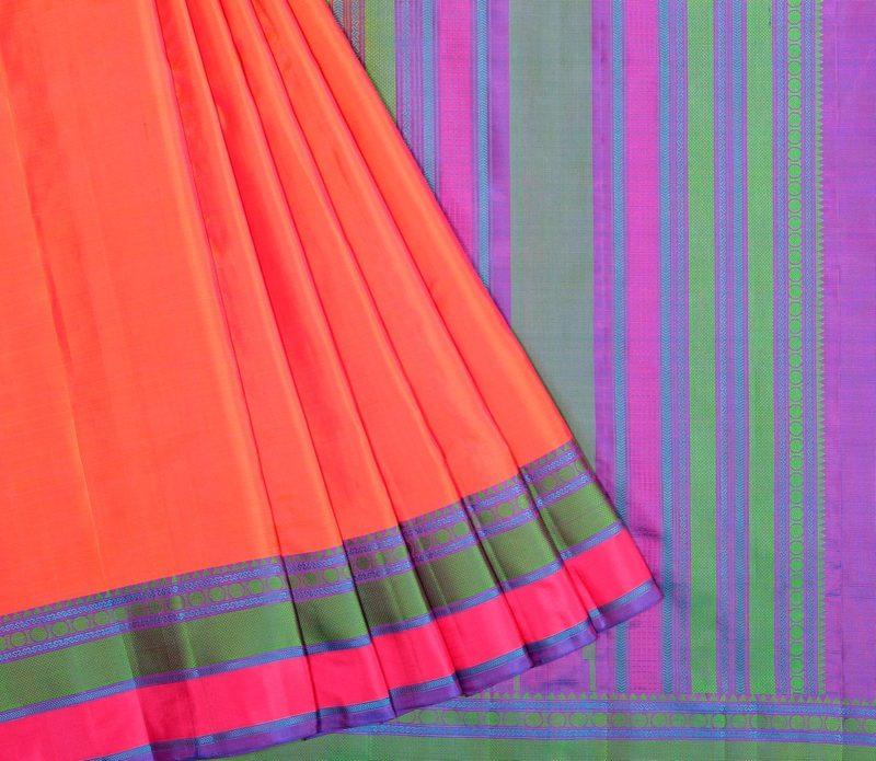Weavemaya Kanjivaram Soft Silk Saree in Orange 68119015