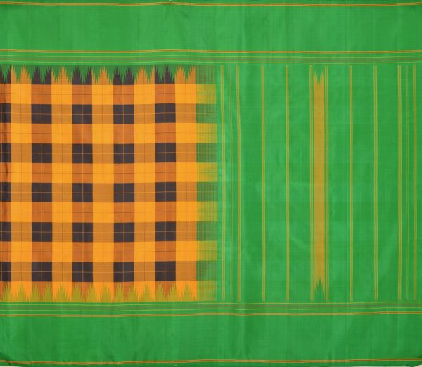 68719002 - Kanjivaram silk saree in yellow-black