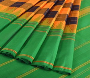 68719002 - Kanjivaram silk saree in yellow-black
