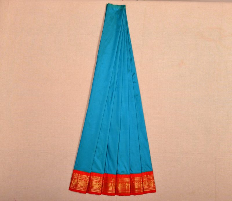 Kanjivaram silk pavadai in light blue