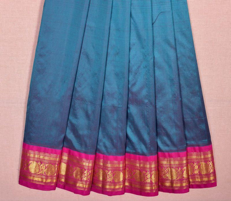 Kanjivaram silk pavadai in peacock blue