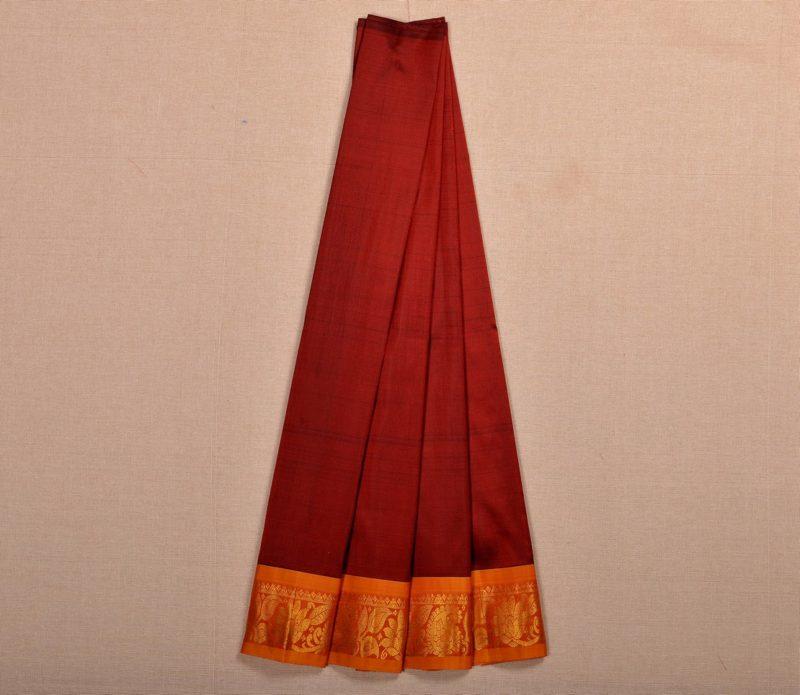 Kanjivaram silk pavadai in deep maroon