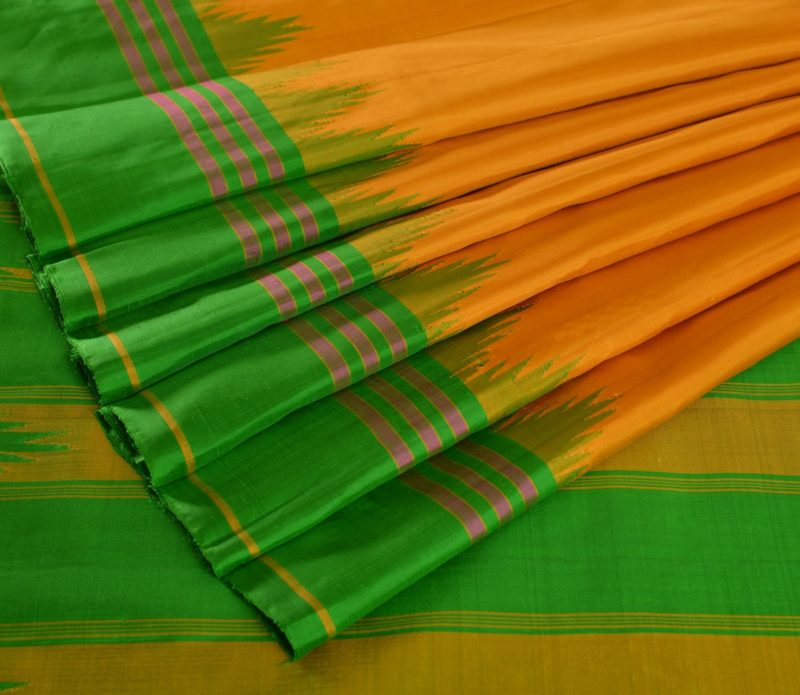 Kanjivaram temple korvai saree in mustard with green border