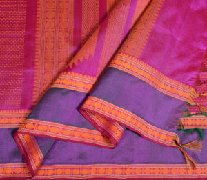 kanchi Silkcotton Saree in Magenta plus butta with rudraksh border