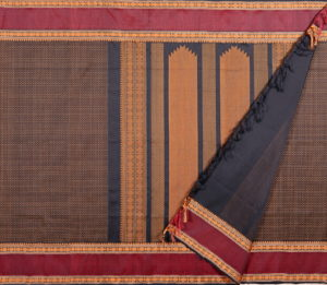 Kanchi Silkcotton Saree in Black with plus butta rudraksh border