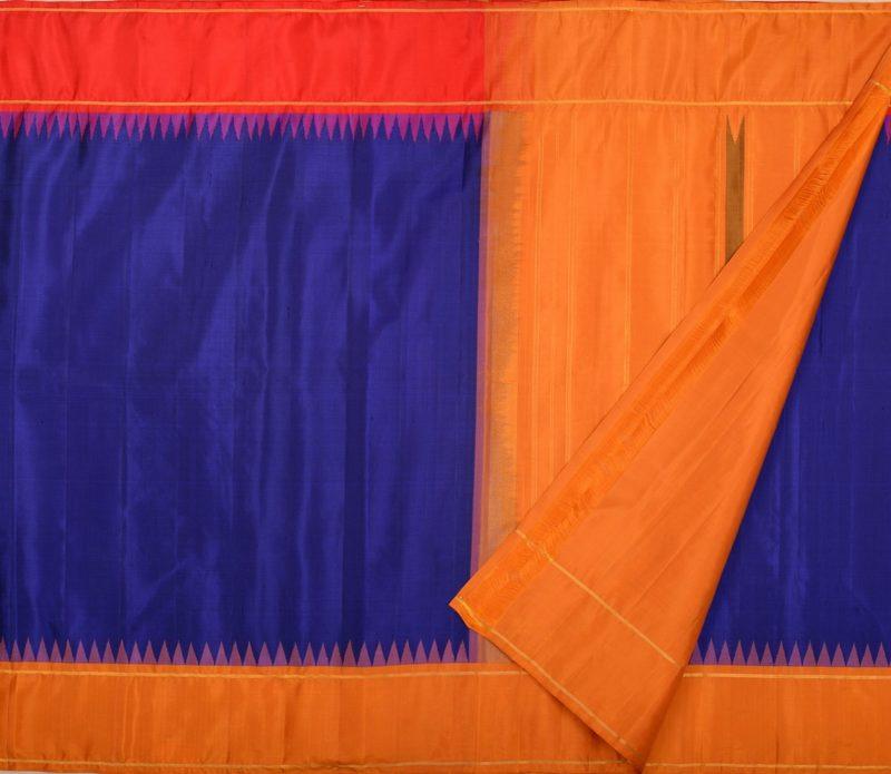 Kanjivaram pure silk saree in navy blue with korvai temple border