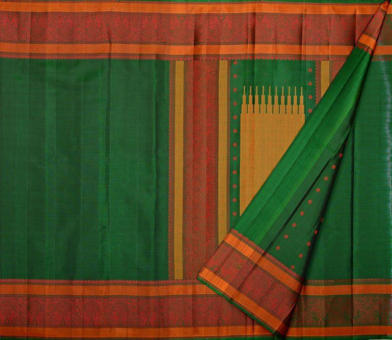 soft silk saree in bottle green