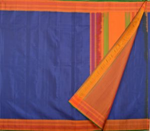 Kanjivaram soft silk saree in dark blue with thread work