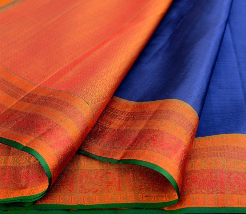 Kanjivaram soft silk saree in dark blue with thread work