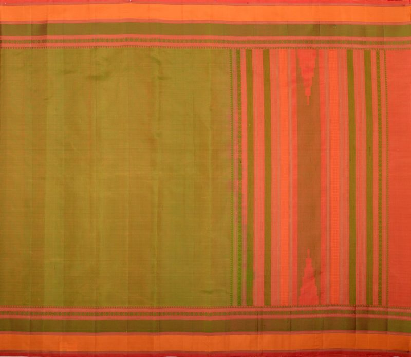kanjivaram soft silk saree in olive green