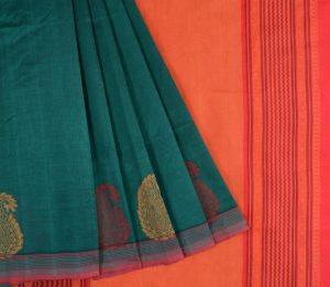 Kanchi Silkcotton Saree in Peacock Green