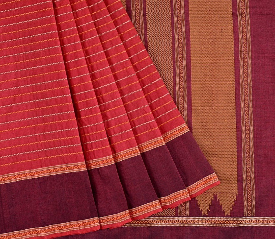 Kanchi Silkcotton Saree in Maroon with Veldhari