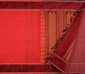 Kanchi Silkcotton Saree in Red with Veldhari