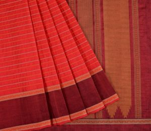 Kanchi Silkcotton Saree in Red with Veldhari