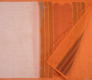 Kanchi silkcotton saree in offwhitew