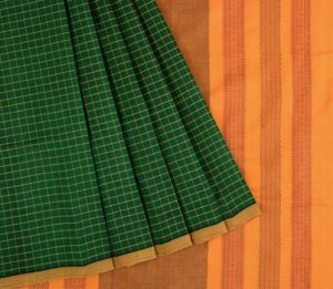 Kanchi silkcotton saree in bottle green