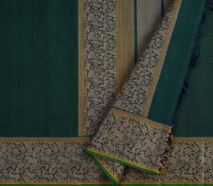 Kanchi Cotton Saree in Bottle Green with Vanasingaram
