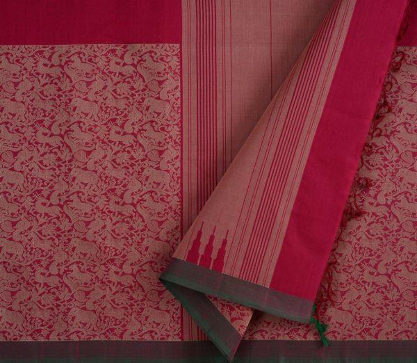Kanchi Cotton Saree in Pink with Vanasingaram
