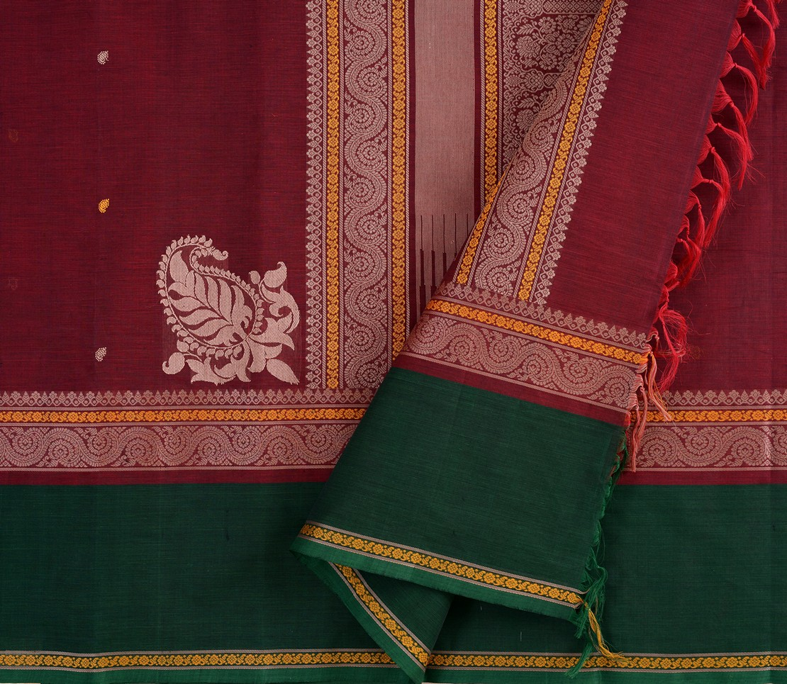 Kanchi Cotton Saree in Arakku with tall border