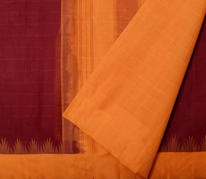 Maroon cotton silk border