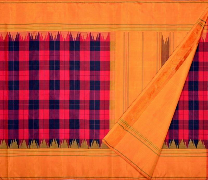 Kanjivaram Silk Temple Korvai Saree with Bold Checks
