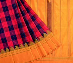 Kanjivaram Silk Temple Korvai Saree with Bold Checks