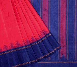 Kanjivaram silk saree in red with navy blue temple border