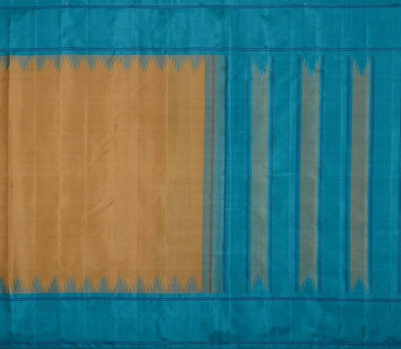 Kanjivaram silk saree in beige with copper sulphate blue temple border and no zari