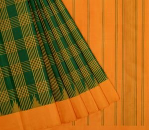 Kanjivaram temple korvai silk saree in green with bold checks