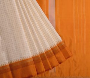 Kanjivaram korvai temple silk saree in off white with mustard