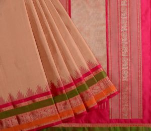 Kanjivaram silk temple korvai saree in beige