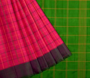 Kanjivaram silk saree in pink with green and purple Ganga Jamuna border and no zari