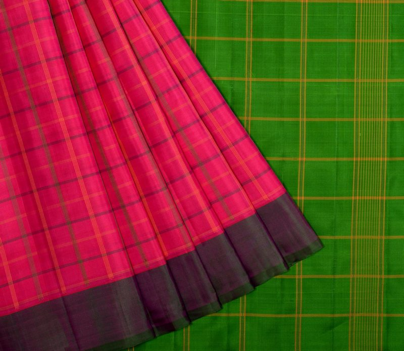 Kanjivaram silk saree in pink with green and purple Ganga Jamuna border and no zari