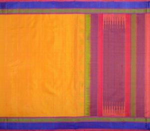 Kanjivaram soft silk in yellow with threadwork and butta blouse