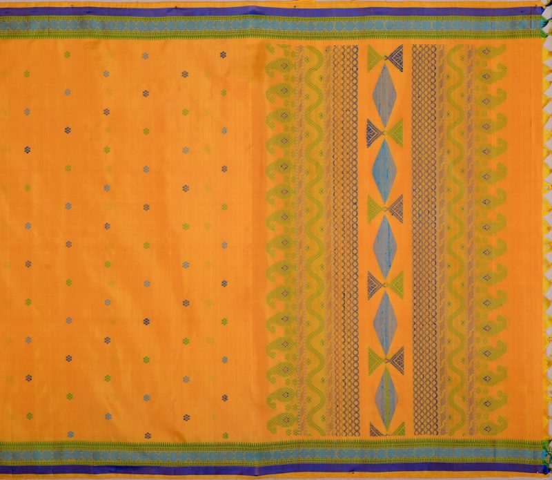 Dashing yellow Kanjivaram with Bomkai style pallu in threadwork