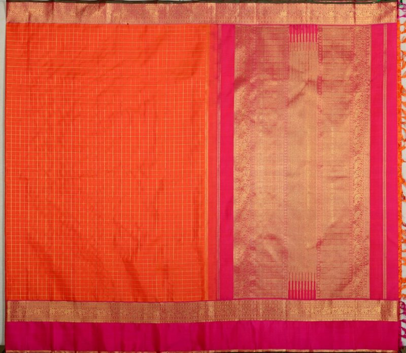 Bridal Kanjivaram silk saree in orange with zari checks