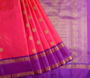 Kanjivaram Silk Saree in pink with mayil chakram butta