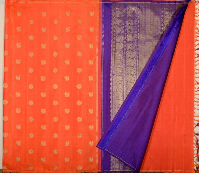 Kanjivaram silk saree in orange with butta