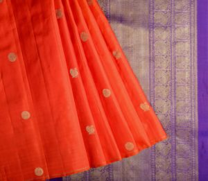 Kanjivaram silk saree in orange with butta