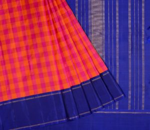 Kanjivaram silk saree in pink and orange checks with navy blue korvai border