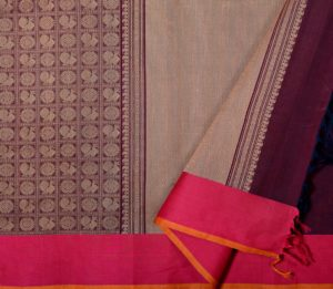 Kanchi cotton in wine with mayil chakram