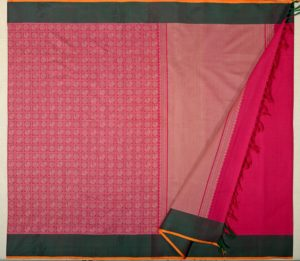 Kanchi cotton saree in pink with mayil chakram