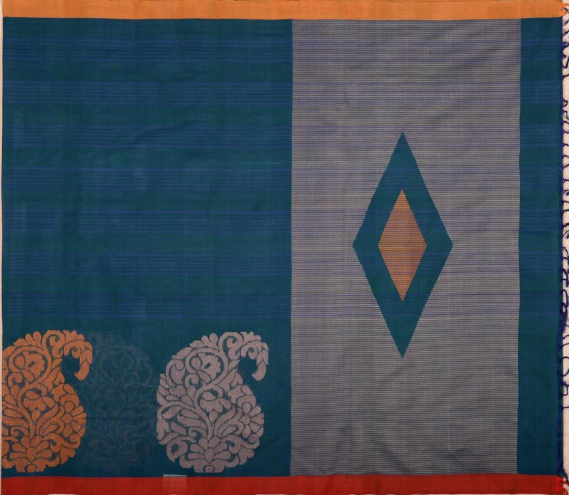 Kanchi cotton saree in peacock blue with large motifs