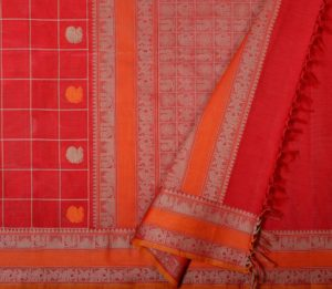 Chilli red kanchi cotton saree with kattam butta