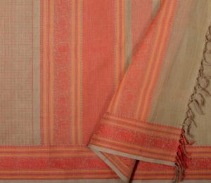 Kanchi cotton saree beige with checks