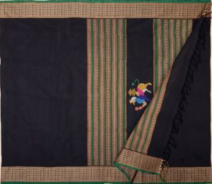 Kanchi cotton saree in black with navagunjaram pallu