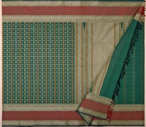 Kanchi cotton saree in green with ayiram butta